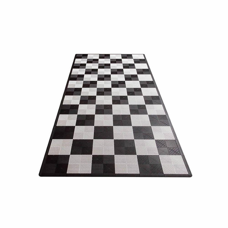 Swisstrax Ribtrax One Car Parking Mat & Garage Mat Gray, Black and White Checkered