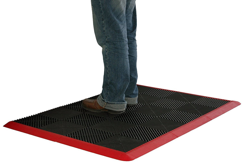 Standing on anti-fatigue mat work mat