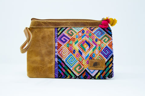 Part Leather Wristlet Clutch #4