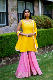 Rani Yellow and Pink Gharara