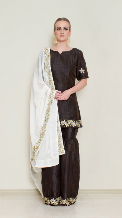 Dark Chocolate Embroidered Sharara Set