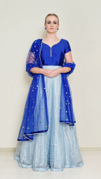 Powder Blue Gotta Patti Anarkali