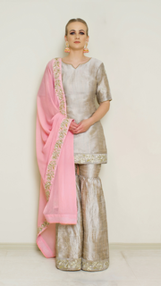 Stone Grey Embroidered Sharara Set