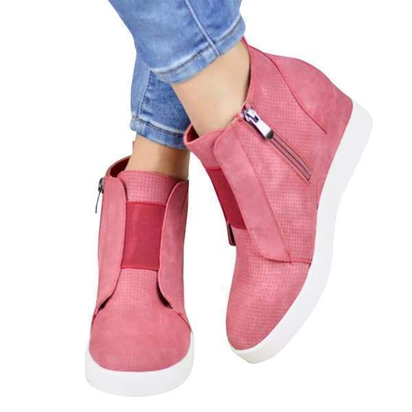 Fionachic Zipper Wedge Breathable Sneakers