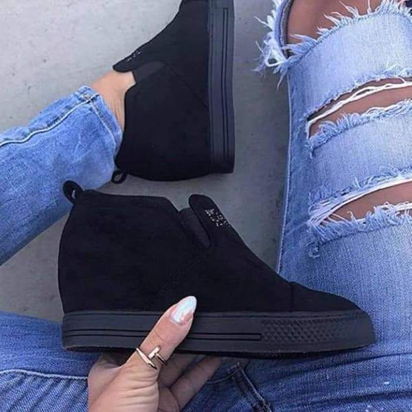 Fionachic Letter Slip On Wedge Sneakers
