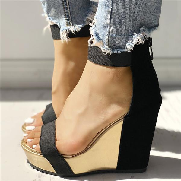 Fionachic Sexy Open Toe Back Zipper Wedges Sandals
