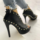 Fionachic Rivet Embellished Hollow Out Buckle High Heels