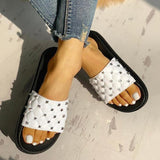 Fionachic Rivet Design Open Toe Slippers