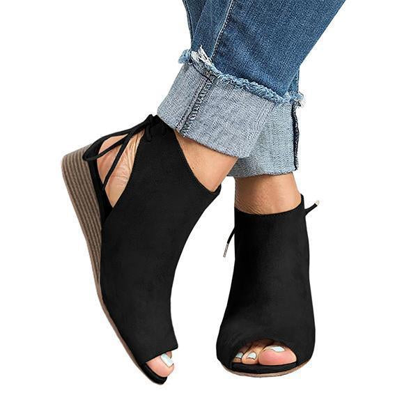 Fionachic Cropped Wedge Open Toe Low Heel Sandals