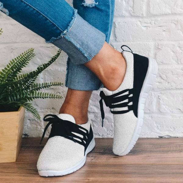 Fionachic Adjustable Laces Suede Sneakers