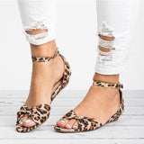 Fionachic Casual Leopard Adjustable Buckle Sandals