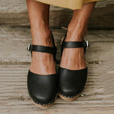 Fionachic Ankle Strap Chunky Heel Low Platform Faux Clogs (Ship in 24 Hours)