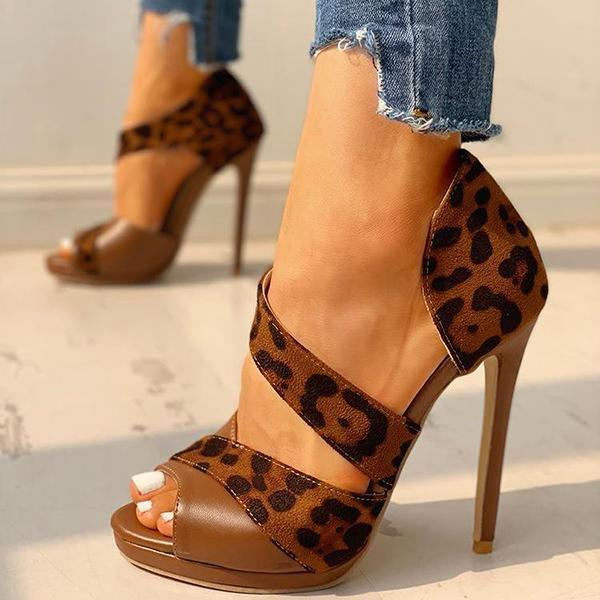 Fionachic Suede Peep Toe Cut Out High Heels