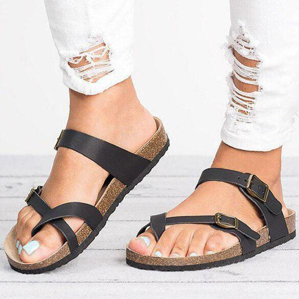 Fionachic Leather Strap Buckle Flats Sandals