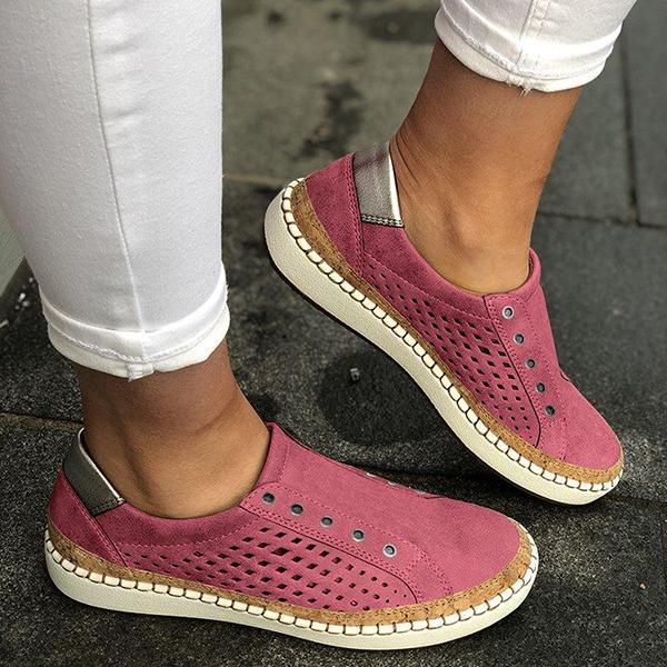 Fionachic Women Casual Summer Slip On Hollow-Out Sneakers