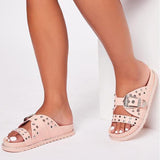 Fionachic Summer Pu Slippers Slide Sandals Bukcle Casual Shoes
