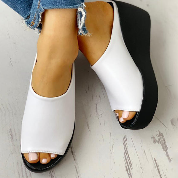 Fionachic Peep Toe Muffin Wedge Slippers