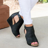 Fionachic Peep Toe Blocking Hook-Loop Wedges Sandals