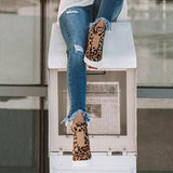 Fionachic Women Casual Leopard Wedge Heel Booties