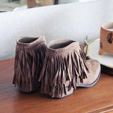 Fionachic Round Toe Casual Chunky Heel Tassel Ankle Boots