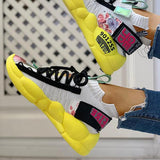 Fionachic Knitted Breathable Lace-Up Casual Sneakers