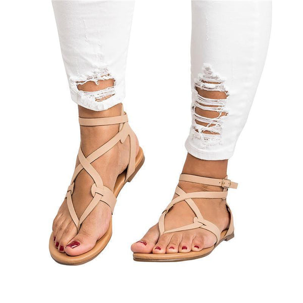 Fionachic Strappy Gladiator Thongs Sandals
