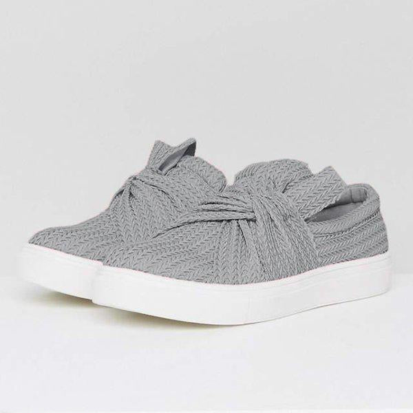 Fionachic Women Knitted Twist Slip On Sneakers