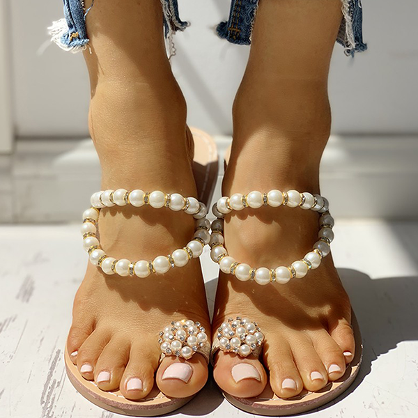Fionachic Beaded Design Toe Ring Casual Slippers