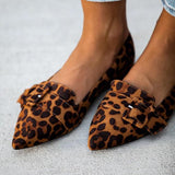 Fionachic Women With Buckle Leopard Flats