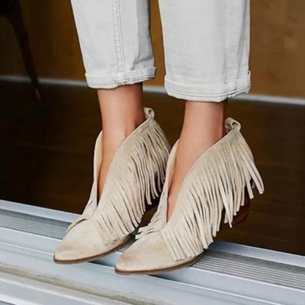 Fionachic Fringes Suede Pointed Toe Chunky Heels Boots