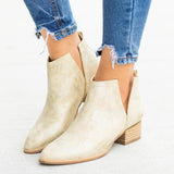 Fionachic Women Closed Toe Low Heel Boots