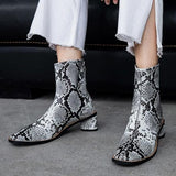 Fionachic Stylish PU Leather Chunky Heel Boots