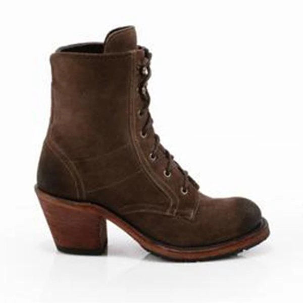 Fionachic Vintage Suede Lace Up Chunky Heel Mid Boots