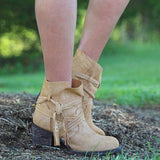 Fionachic Tassel Suede Chunky Heel Ankle Boots
