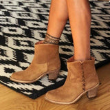 Fionachic Chunky Heel Artificial Suede Ankle Boots
