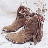 Fionachic Brown Artificial Suede All Season Fringe Rivet Daily Boots