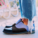 Fionachic Vintage Round Head Color Matching Shoes