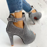 Fionachic Glitter Peep Toe Cut Out Platform Thin Heels