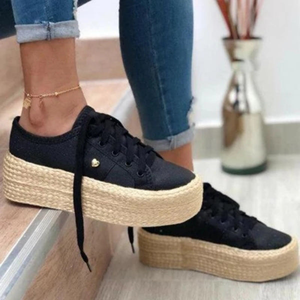 Fionachic Lace-Up Straw-Weaved Platforms Shoes