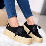 Fionachic Medium Straw-Weaved Platforms Ribbon Lace Lace-Up Shoes