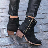 Fionachic Vintage Rivet Ankle Boots Side Zipper Chunky Heel Boots