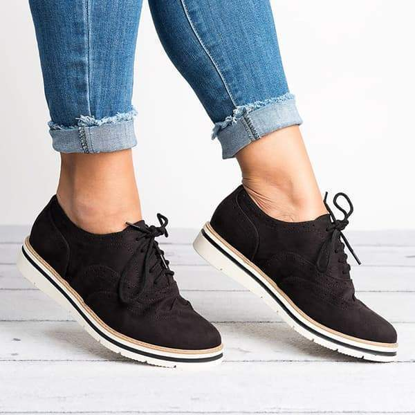 Fionachic Lace Up Perforated Oxfords Shoes