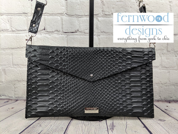 Leather Dragon Scale Envelope Clutch