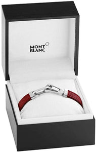 Montblanc Mens Red Leather 63 Bracelet 12382563 (4435051053169)