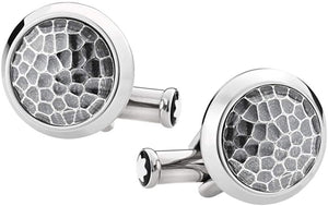 Montblanc Men's Round Silver Steel with Martele Inlay Cufflinks 124207 (4576404766833)