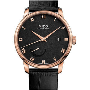 Mido Men's Baroncelli 40mm Black Leather Band Rose Gold Plated Case Automatic Watch M027.428.36.053.00 (4337299193969)