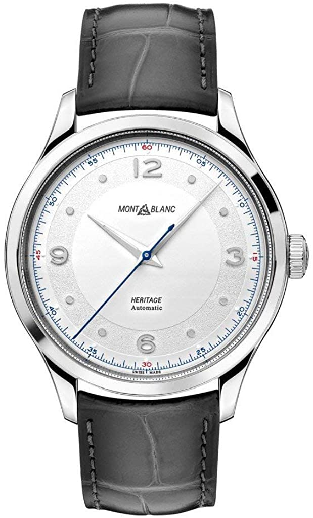 Montblanc Men's Heritage 40mm Grey Alligator Leather Band Steel Case Automatic Analog Watch 119943 (4576378519665)