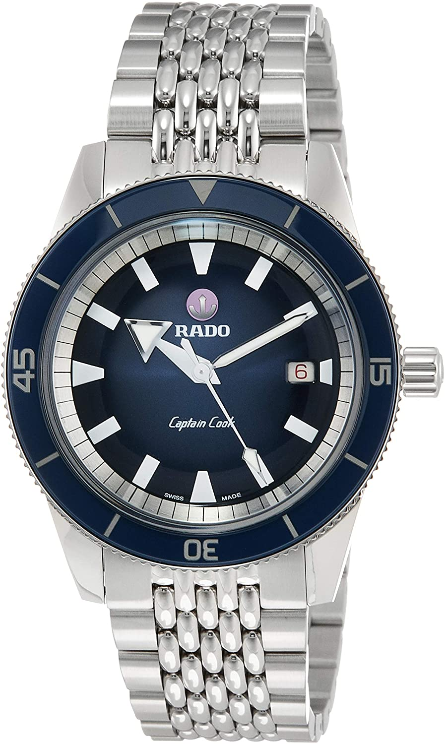 Rado Men's Captain Cook 42mm Steel Bracelet & Case Sapphire Crystal Automatic Blue Dial Watch R32505203 (4419075375217)
