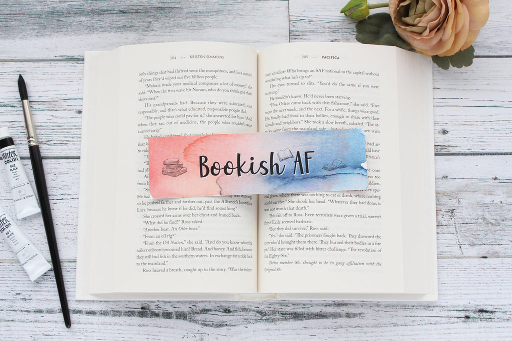 Bookmark, Bookish AF, Watercolor Bookmark.