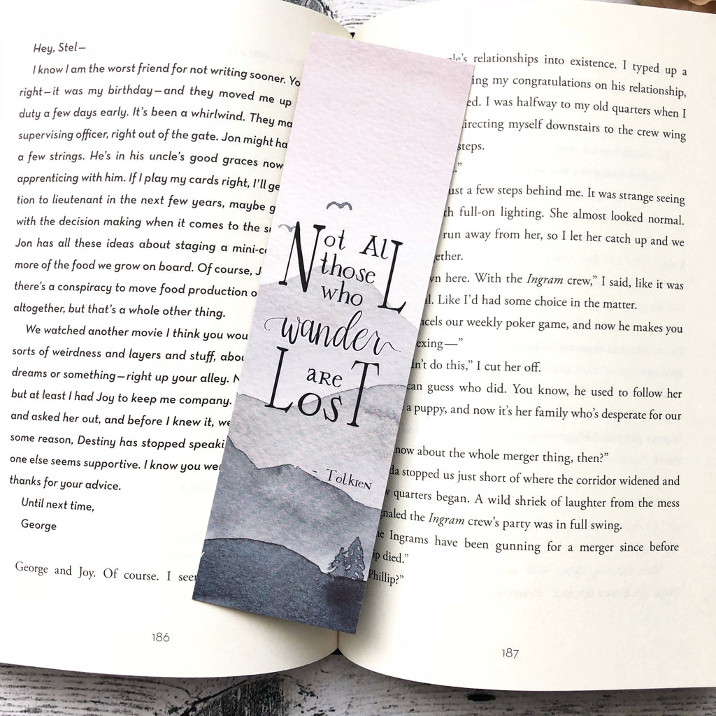 Bookmark, Tolkein quote, wander, watercolor bookmark, book lover gift, bookish.